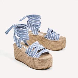 Zara striped flatform wedges